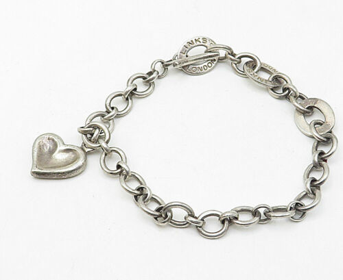 LONDON LINKS 925 Silver - Vintage Love Heart Charm Round Chain Bracelet - B4594