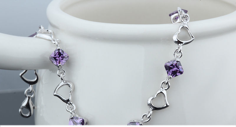 925 Sterling Silver Bracelet with Top Quality Zircon DL2 image 6
