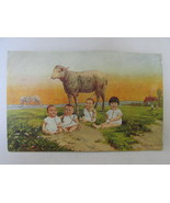 Odd Antique Postcard - Babies Drinking Milk From Tubes Attached to Ewe, Unposted - €8,39 EUR