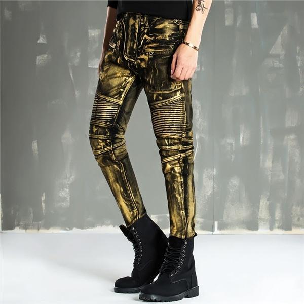 Men Fashion Paint Golden Coating Stretch Bike Jeans