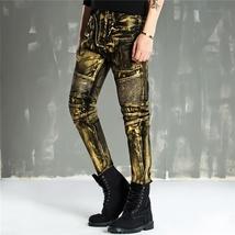 Men Fashion Paint Golden Coating Stretch Bike Jeans image 6