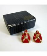 Vintage 1996 Avon Red Doorknocker Goldtone Metal Clip-On Earrings - $9.99
