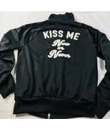 "Forever 21 Twenty One Black Jacket Active Sz L "" Kiss Me Now Or Never"" Large - $31.33"