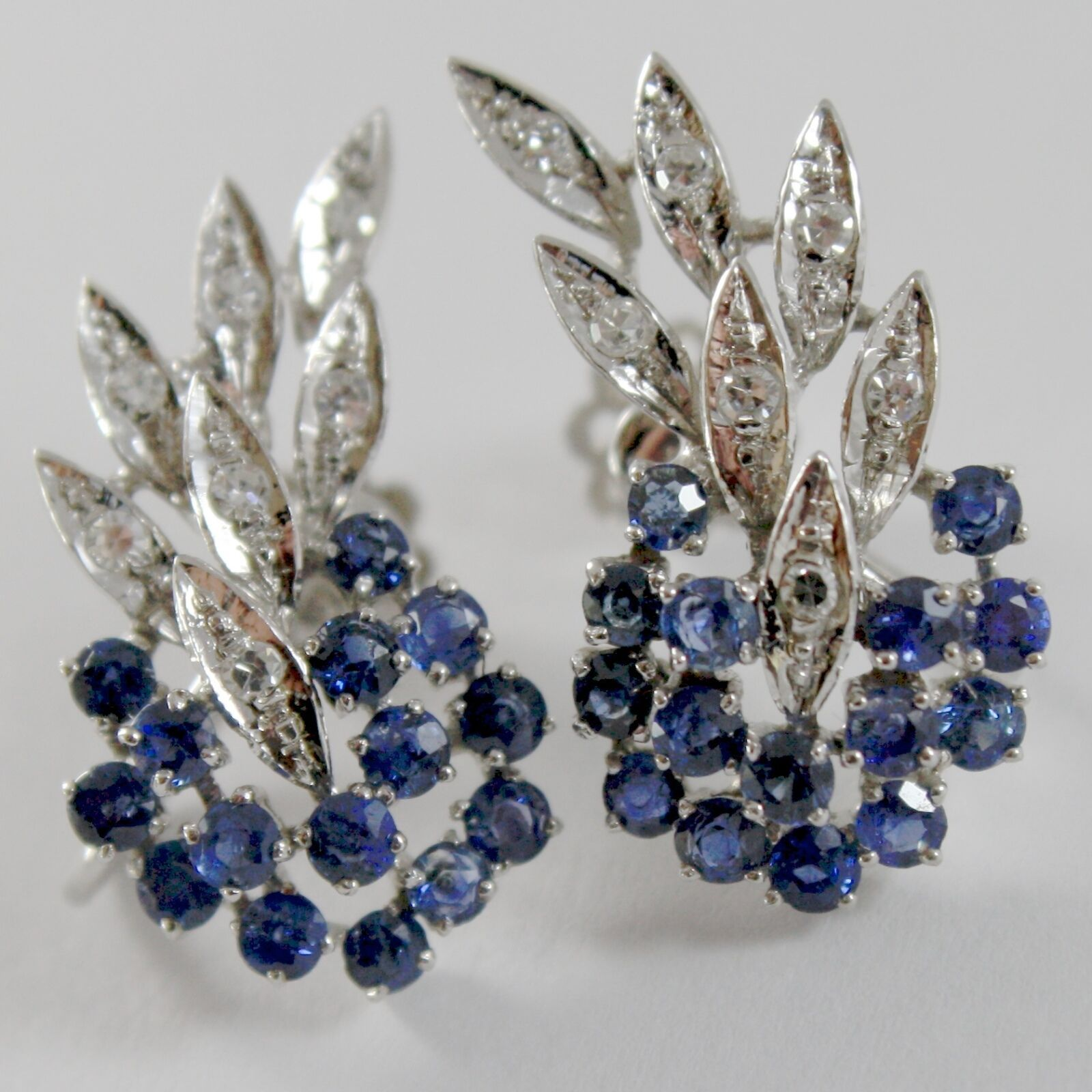 SOLID 18K WHITE GOLD FLOWER, LEAVES SCREW BACK EARRINGS WITH DIAMONDS SAPPHIRES