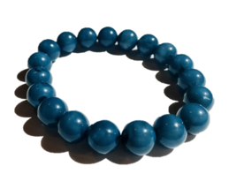 Vintage Lucite Beads Bracelet Turquoise Blue Stretch Women's Jewelry Acc... - $17.81