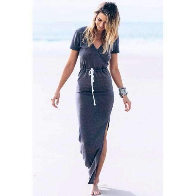 Dress for less maxi dress deep blue large casual v neck high slit women long dress 1387237539871