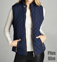 Plus Size Quilted Vest, Faux Shearling Lined Vest, Navy Plus Size Lined Vest