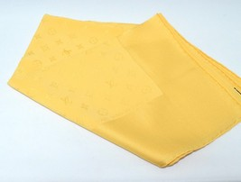 Louis Vuitton Monogram Scarf Yellow Silk 86 cm Shawl Stole LV Authentic ... - $276.21