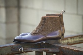 Handmade Men's Brown Leather & Tweed High Ankle Brogues Buttons Boots image 2