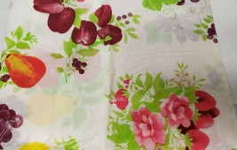 "THIN FLANNEL BACK Vinyl Tablecloth 52""x70"" Oblong (4-6 ppl) FRUITS & FLO... - $8.90"