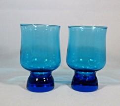 "Anchor Hocking 2 Glasses Wine Juice Bright-Blue Trivoli 4"" Tall 8 Oz Vintage 60s - $6.44"
