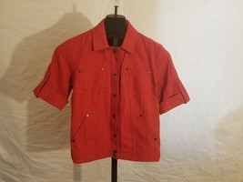 NWT Coldwater Creek Size 4 Red Short Sleeve Linen Jean Jacket Retail $69... - $15.44