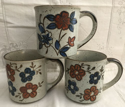 Vintage Stoneware Floral Coffee Mugs Speckled Otagiri Hand Painted Lot of 3 - $19.80