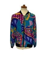 vintage women's bomber jacket multicolor zip front size M made in Korea - $24.64