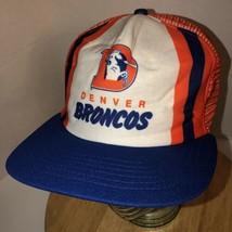 Vtg Denver Broncos 80s Usa New Era Stripes Tri-Color Trucker Hat Cap Snapback - £37.69 GBP