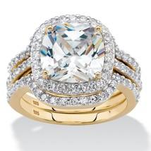 4.26 Cttw. Cushion-Cut Cubic Zirconia 14k Gold over Silver Halo Bridal R... - $99.99