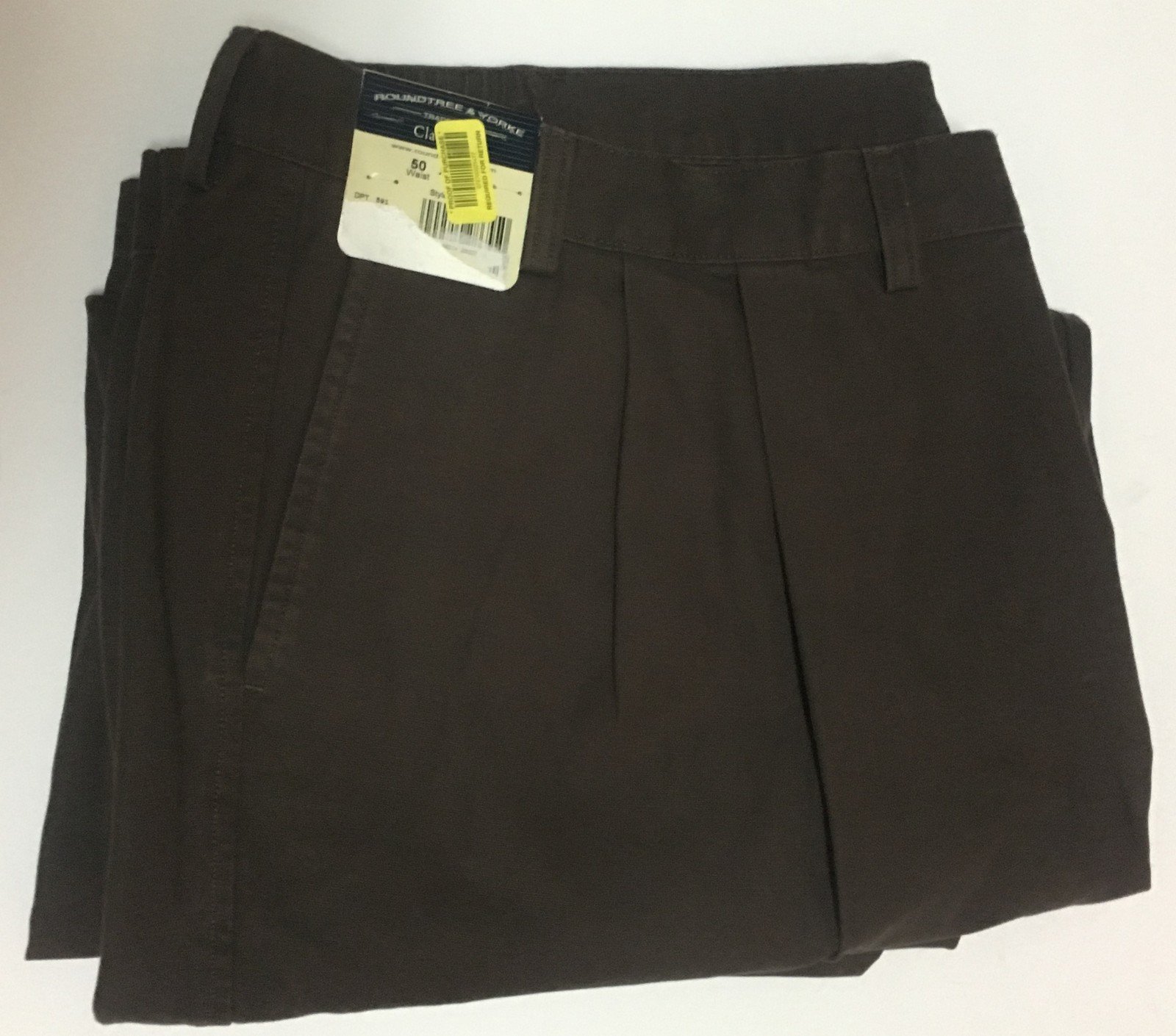 Roundtree & Yorke Brown Canvas Pants 50W x 30L NWT