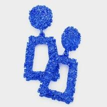 Blue Stylish Trapezoid Geometric Trendy Textured Fashion Bling Dangle Ea... - $19.80