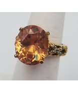Beautiful Faux Citrine Light Orange Rhinestone Gold Tone Cocktail Ring ~... - $19.79