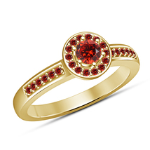 14k Yellow Gold Plated 925 Silver Round Cut Red Garnet Women's Engagemen... - ₨5,359.35 INR