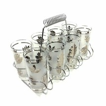 """NEW IN BOX Set of 8 Vintage Libby Frosted Silver Leaf Glasses 5 1/2"""" CAR... - $98.99"""