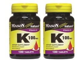 PACK 2 X 100 = 200 Tablets Vitamin K 100 MCG, For Proper Blood Clotting - $9.80