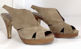 Steve Madden Size 9 Brown Suede Leather High Heels Sling Back Sandals - $15.95