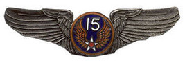 15TH AIR CORPS FORCE  USAF BIG PEWTER WING PIN - $15.33