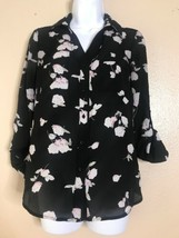 Candies Womens Size XS Floral Roll Tab Sleeve Button Front - $11.88
