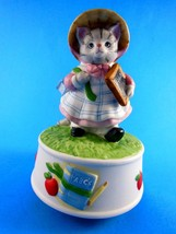 Kitty Cucumber Music Box School Days Slate ABC's Schmid Cat B Shackman Vintage - $17.32