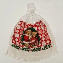 Vintage Christmas Kitchen Towel Crochet Oven Door Loop Santa Bears Holid... - $16.49