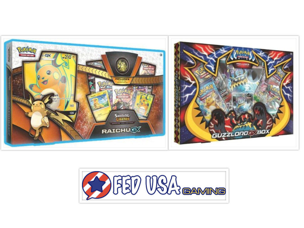 Pokemon Shining Legends Raichu GX Collection Box and Guzzlord GX Box Sealed