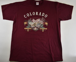 Vintage Men's Colorado Shirt Maroon Rocky Mountains Winter Cabin Scene O... - $24.62 CAD