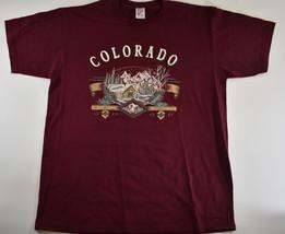 Vintage Men's Colorado Shirt Maroon Rocky Mountains Winter Cabin Scene O... - $25.25 CAD