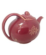 Hall Teapot Hook Cover 6 Cup 0753 Maroon Gold Trim Accents  - $34.65