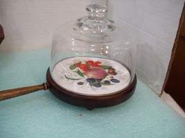 Vintage Cheese Server with Glass Dome Fruit Tile Center  D5 - $16.82