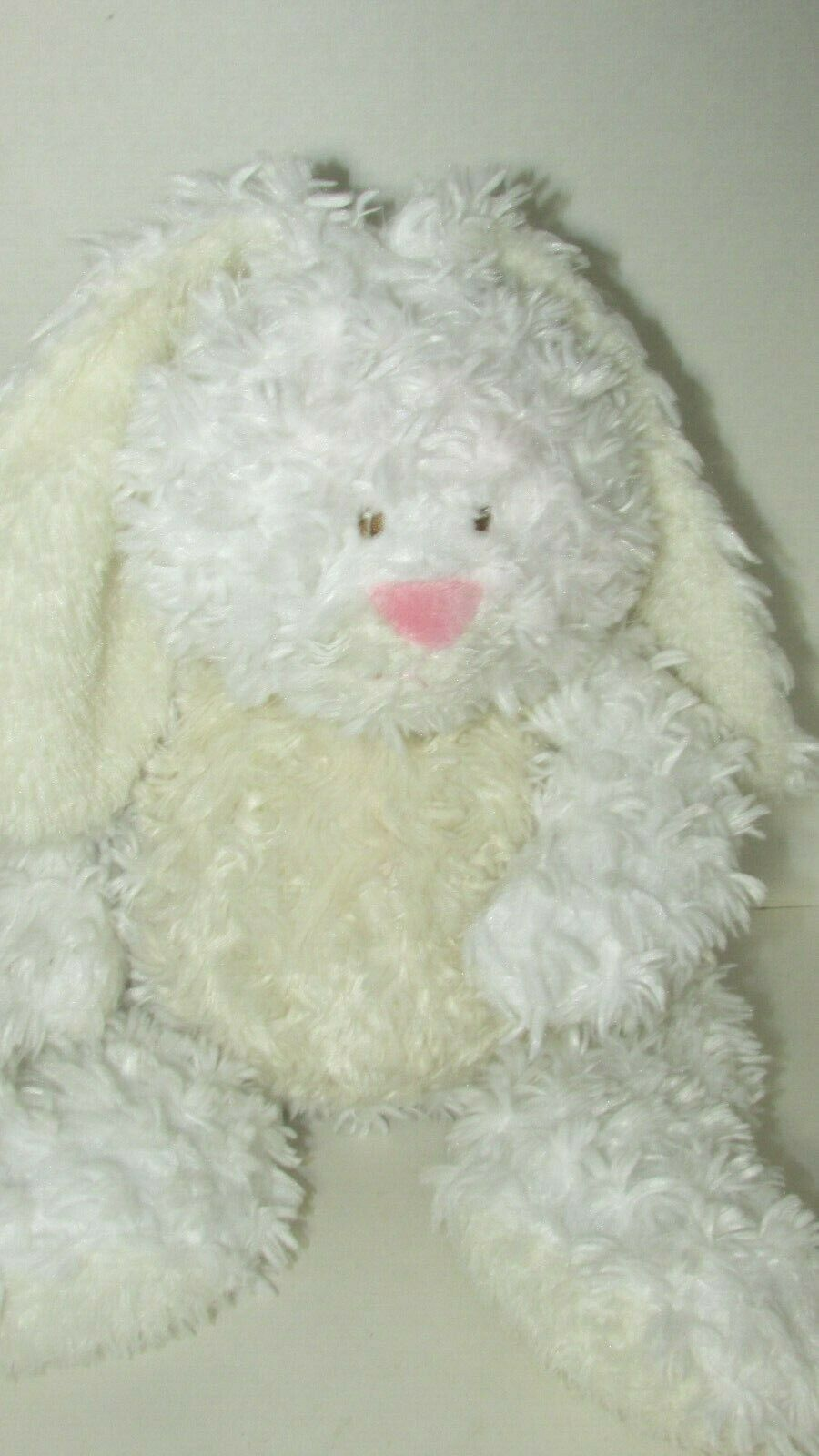 Primary image for Baby Ganz Bellifuls bunny rabbit plush white cream rattle swirled fur USED