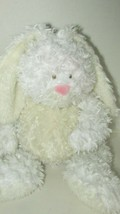 Baby Ganz Bellifuls bunny rabbit plush white cream rattle swirled fur USED - $11.57