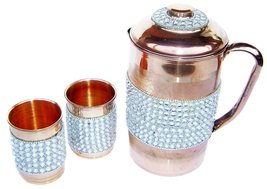 Rastogi Handicrafts Pure Copper Silver Crystal Studded Jug & 2 Glass Set - $49.01