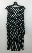 Talbots Shift Dress Fauz Wrap 1X Black Ruched Polka Dot Stretch Jersey A... - $24.14
