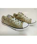 Converse All Star Gold Glitter Low Top Sneakers Shoes Size 4 Junior EUR36 - $38.60