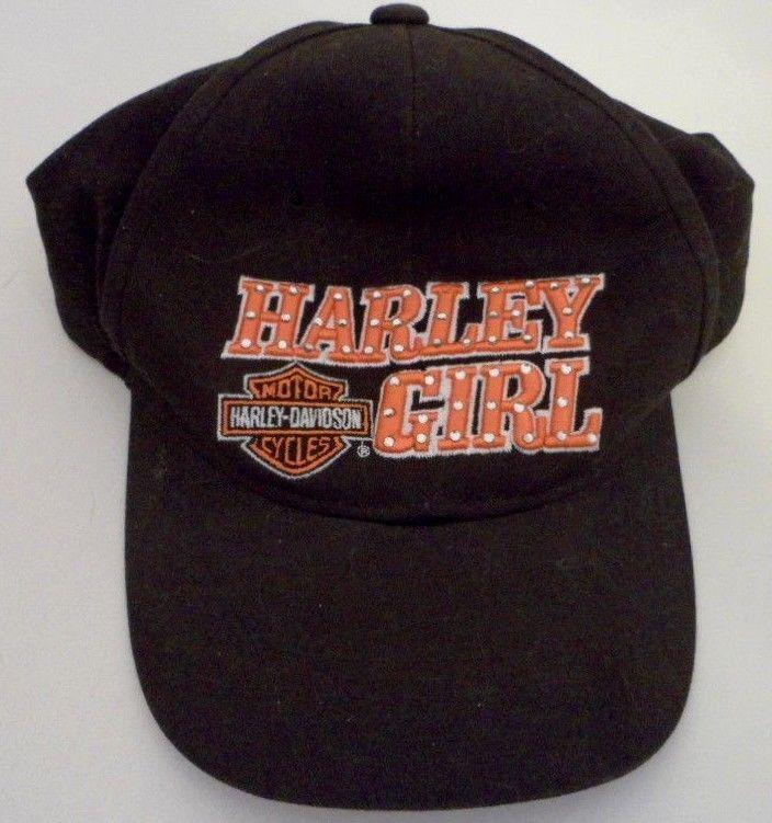 Harley Davidson Ladies Harley Girl Orange Embroidered Motor Cycle Baseball Cap