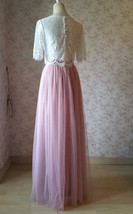 Two Piece Bridesmaid Dress Long Tulle Skirt Sleeve Crop Lace Top Wedding Outfit image 3