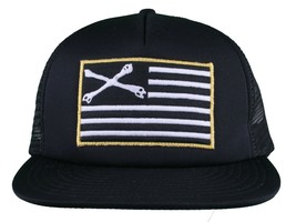 Dissizit! Black Mesh American Cross Bones Flag Trucker Baseball Hat