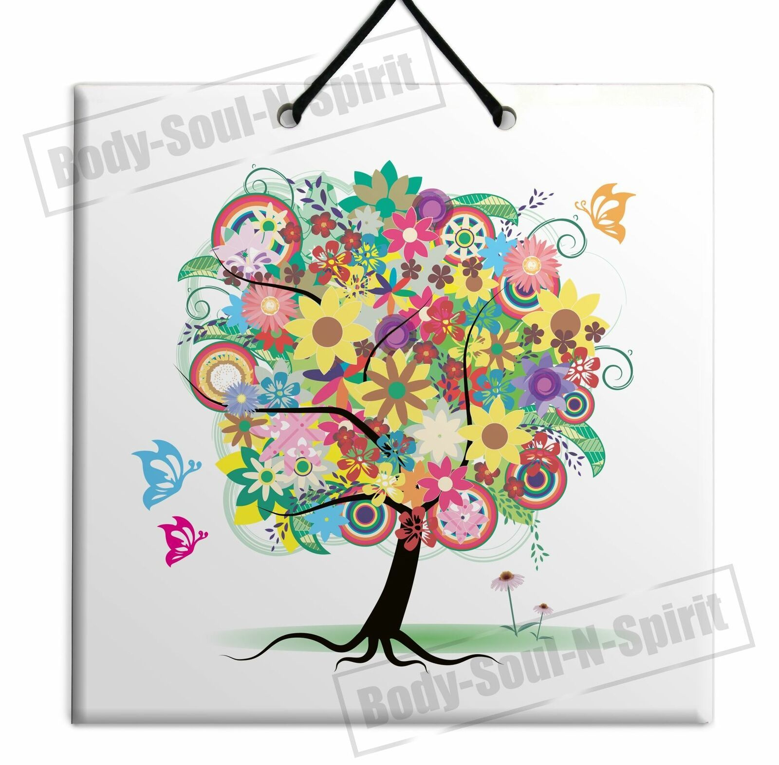 DECORATIVE TREE OF LIFE ARTISTIC CERAMIC WALL hanging tile Plaque