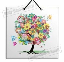 DECORATIVE TREE OF LIFE ARTISTIC CERAMIC WALL hanging tile Plaque - $15.17