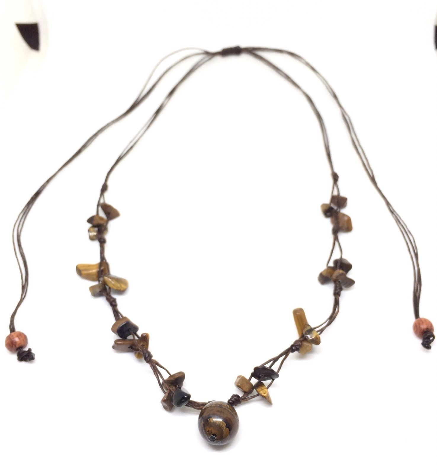 Fair Trade Tigers Eye Beaded Waxed Cotton Pendant NECKLACE Thai Jewelry
