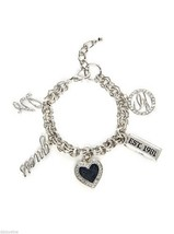 NWT Guess Silver Metal-Clear Stones-Denim Insert-Enamel Multiple Charms ... - $19.79