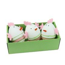"Northlight 3 Pink Green Striped Felt Easter Egg Chicken Spring Figure 2.75"" - $7.91"
