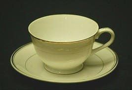 Classic Style Footed Tea Cup & Saucer Set White w Gold Bands Dinnerware ... - $14.84